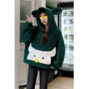 Cool Girls Green Deer Pattern Pullover Long Sleeve Pullover Woolen Relaxed Fitted Hooded Sweatshirt