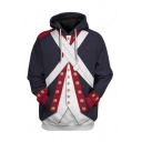 Mens Stylish Hoodie 3D Suit Pattern Pocket Drawstring Regular Fitted Long Sleeve Hooded Sweatshirt