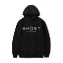 Chic Hoodie Letter Ghost Pattern Drawstring Relaxed Fitted Long Sleeve Hoodie for Men