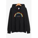 Womens Chic Hooded Sweatshirt Rainbow Letter Be Kind Printed Drawstring Loose Fitted Long Sleeve Hoodie