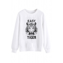 Womens Creative Sweatshirt Letter Easy Tiger Print Regular Fitted Long Sleeve Pullover Sweatshirt