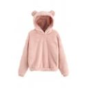 Dressy Womens Solid Color Bear Ears Woolen Long Sleeve Pullover Regular Fitted Woolen Hooded Sweatshirt