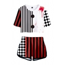 Halloween Girls Striped Plaid Printed Short Sleeve Crew Neck Fitted Crop Tee Top & Relaxed Shorts Set