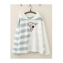 Chic Hoodie Striped Cartoon Animal Printed Drawstring Long Sleeve Relaxed Fitted Hooded Sweatshirt for Women