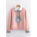 Chic Sweatshirt Rabbit Letter Printed Bow Faux Twinset Fitted Long Sleeve Graphic Sweatshirt for Women