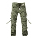 Mens Cool Simple Plain Fashion Ribbon Detail Cotton Utility Pants Cargo Pants