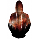 Trendy Galaxy Forest Printed Long Sleeves Zip-up Hoodie with Pockets