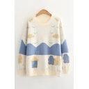 Fancy Ladys House Mountain Cloud Pattern Long Sleeve Round Neck Pullover Regular Fitted Sweater in Beige
