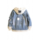 Stylish Mens Blue Denim Jacket Japanese Letter Printed Button up Raw Edge Long Sleeve Fitted Hooded Denim Jacket