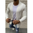 Mens Stylish Plain Long Sleeves Ribbed Knit Open Front Cardigan Coat