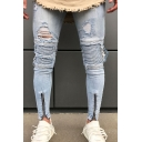 Men's Trendy Fashion Knee Cut Zip-Embellished Cuffs Light Blue Ripped Skinny Jeans