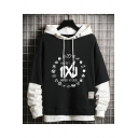 Cool Mens Black Hoodie Cartoon Letter Pattern Applique Long Sleeve Pocket Drawstring Pullover Regular Fitted Fake Two Piece Hooded Sweatshirt