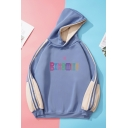 Popular Womens Colorblock Letter Printed Tape Long Sleeve Drawstring Pullover Relaxed Fit Hooded Sweatshirt
