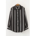 Fancy Girls Striped Checkered Btoon Up Turn Down Collar Long Sleeve Loose Fit High Low Shirt
