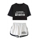 Chic Womens Letter Fujiwara Printed Short Sleeves Round Neck Regular Fit Cropped T-Shirt & Elastic Waist Loose Shorts Set