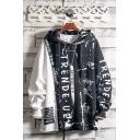 Popular Boys Hoodie Colorblock Letter Trende up Pattern Drawstring Loose Fitted Long Sleeve Hooded Sweatshirt