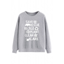 Casual Girls Sweatshirt Letter Save Rescue Printed Regular Fitted Long Sleeve Graphic Pullover Sweatshirt