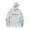 Stylish Womens Hoodie Tie Dye Butterfly Printed Long Sleeves Drawstring Loose Fitted Hooded Sweatshirt