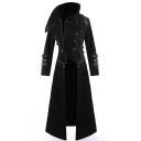Mens Retro Gothic Steampunk Long Sleeve Zipper Sequins Embellished Longline Hooded Trench Coat Overcoat