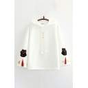 Popular Womens Cat Letter Embroidery Long Sleeve Pullover Drawstring Relaxed Fitted Hooded Sweatshirt with Tassel