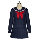 Preppy Looks Girls Long Sleeve Sailor Collar Bow Tie Front Panel Relaxed Tee & Short Pleated A-Line Skirt in Blue