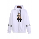 Casual Womens Character Camera Pattern Long Sleeve Pullover Drawstring Regular Fitted Hoodie