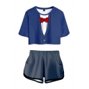 Trendy Womens 3D Suit Printed Short Sleeve Crew Neck Regular Fitted Tee Top & Shorts Co-ords