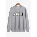 Leisure Womens Sweatshirt Cat Letter I'm Social Distancing Printed Regular Fitted Long Sleeve Pullover Sweatshirt