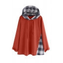 Womens Stylish Hoodie Check Pattern Drawstring Patchwork Button Detail Loose Fitted Long Sleeve Hoodie