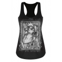 Gothic Girls Cartoon Heart Brain Skull Graphic Scoop Neck Relaxed Racer-back Tank Top in Black