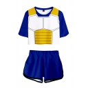 Cool 3D Armour Print Crew Neck Short Sleeve Fitted Cropped Tee Top with Loose Shorts Casual Two-Piece Set for Girls