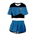 Chic Girls Color Block Short Sleeve Crew Neck Fitted Crop Tee Top & Relaxed Shorts Set