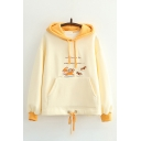 Stylish Womens Hoodie Cartoon Squirrel Dog Letter Animals Trip Together Embroidery Drawstring Long Sleeve Fitted Hooded Sweatshirt