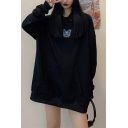 Chic Hoodie Butterfly Printed Drawstring Long Sleeve Oversize Graphic Hooded Sweatshirt for Women