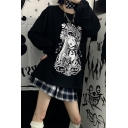 Cool Dark Women's Long Sleeve Drawstring Goth Comic Girl Print Oversize Long Hoodie in Black