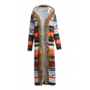Womens Vintage Allover Geometric Aztec Print Long Sleeve Fur Trimmed Hooded Longline Cardigan