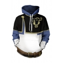 Unique Mens 3D Hooded Sweatshirt Colorblock Goat Pattern Long Sleeve Pocket Drawstring Regular Fitted Pullover Hoodie in Blue