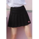 Fashion Embroidery Rose Floral Pattern Mini Pleated Skirt