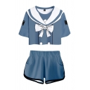 Chic Womens Anime Cosplay Printed Short Sleeves Round Neck Regular Fit Cropped T-Shirt & Elastic Waist Loose Shorts Set