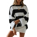 New Womens Black and White Stripes Print Round Neck Bloomer Sleeve Shaggy Sweater