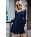Casual Womens Solid Color Long Sleeve Round Neck Short Pleated Swing Dress