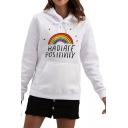 Womens Trendy Hooded Sweatshirt Rainbow Letter Radiate Positivity Printed Drawstring Fitted Long Sleeve Hoodie