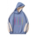 Cool Girls Colorblock Letter Pattern Tape Long Sleeve Pullover Relaxed Fit Hooded Sweatshirt