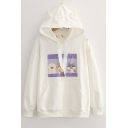 Womens Stylish Hoodie Cartoon Animal Printed Ear Decoration Drawstring Fitted Long Sleeve Hoodie with Pocket