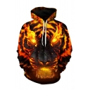 Hot Popular 3D Fire Tiger Printed Long Sleeve Yellow Loose Fit Hoodie with Pocket