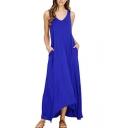Comfort Loose Plain Round Neck Sleeveless Maxi Asymmetric Hem Dress