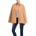 New Arrival Popular Solid Color Khaki Horn Button Patch Woolen Coat Cloak with Pocket
