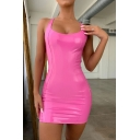 Party Fashion Solid Color Patent Leather Mini Bodycon Dress for Women