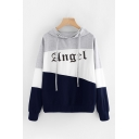 Popular Colorblock Letter Printed Long Sleeve Pullover Drawstring Regular Fitted Hoodie for Girls