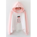 Trendy Girls Strawberry Letter Printed Bow Raglan Pullover Long Sleeve Drawstring Regular Fitted Hooded Sweatshirt